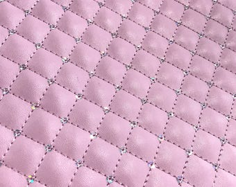 Quilted Baby Pink Sequin Thick Faux Leather Fabric Sheet Foam Backed Pink Vegan Leather