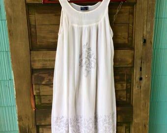 Vintage White Boho Trapeze Tank Dress Made in Spain