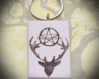 Handmade Stag and Pentacle Keyring - Hand Pyrographed Pagan Gift for Wicca, Witch, Horned God