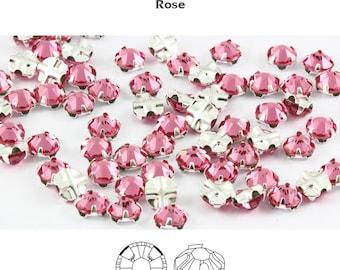 4mm rose color flatback Swarovski Rose Montees, Gunmetal Mounted , lot of 12, ss16, sew on rhinestones , 2028/2058