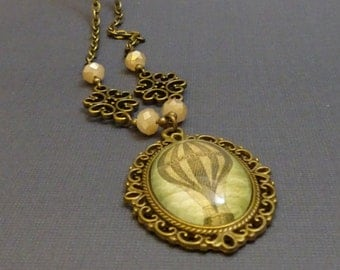 Hot Air Balloon Cameo Necklace, Steampunk, Victorian, Filigree, Airship, Oval, Antique Bronze, 2042