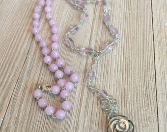 """Pink & green amethyst beaded rosary chain necklace~lavendar jade beads~black mother of pearl rose bead~S925 clasp chain~16""""=32"""""""