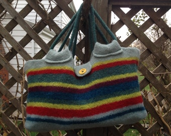 Striped Hand Knit and Felted Wool Market Bag
