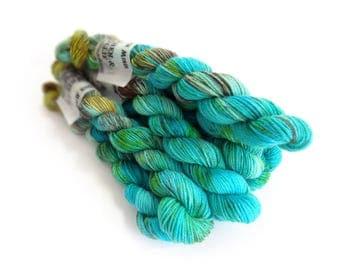 Sock Yarn Mini's Superwash Merino/Nylon 85/15 4ply Handdyed Yarn: PATINA