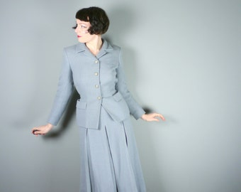 40s TWEED suit in blue grey wool by Fashion Sport - fitted jacket and PLEATED midi skirt - Mid Century country outfit - M
