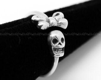 Lovely Ribbon skull 925 sterling silver Ring, Women Ladies sugar skull Ring