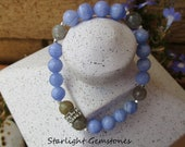 Intuition - Labradorite and Faceted Angelite Gemstone Bracelet with Hill Tribe Silver Spacers & Rhinestone Accent Spacer.