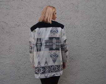 Cream and Black Southwestern Jacket with Black Suede