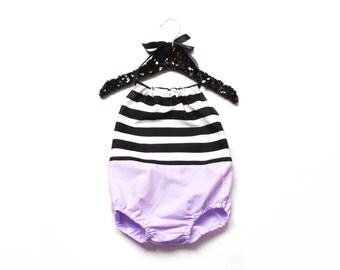 Lavender Stripe Romper /Bubble Romper