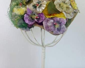 Vintage 40s pansies hat fascinator violets floral bridal wedding