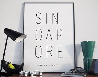 Singapore Typography Print. Poster.