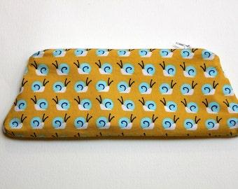 Organic Cotton Snail Pencil Case, Make-up zippered Pouch, Pencil Tote, Gadgets Bag.