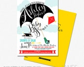 Mary Poppins Shower Invitation | Mary Poppins Digital Invite | Mary Poppins Printable Baby Shower Invite - 5X7 with *bonus reverse side""