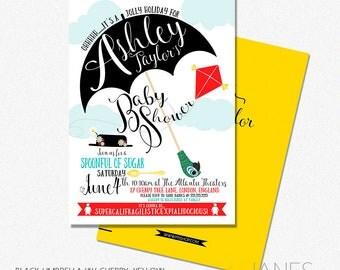 "Mary Poppins Shower Invitation | Mary Poppins Digital Invite | Mary Poppins Printable Baby Shower Invite - 5X7 with *bonus reverse side"""