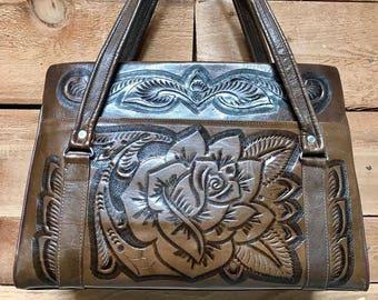 Vintage 1960s Large Tooled Handbag Vtg 60s Dark Brown Leather Handcrafted Purse