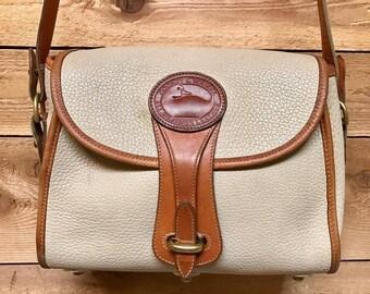 Vintage Dooney & Bourke Medium Essex Shoulder Bag Vtg Bone White All Weather Leather Designer Crossbody Handbag Made in USA