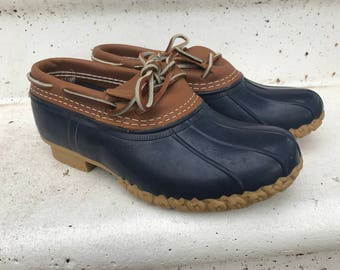 LL Bean Duck Shoes Low Ankle Boots Navy and Brown/Men's Size 7/women's size 8.5/Slip on/Bean Boots/Rain Shoes