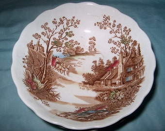 7 Vintage Bowls, Coaching Days, Ridgway, Staffordshire, England, Dinnerware, (Price for All)