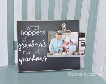 Grandma Photo Frame, Personalized Gift For Grandma  {What Happens at Grandma's...} Custom Picture Frame, Mother's Day Gift Idea, Custom Gift
