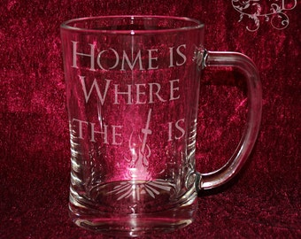 Dark Souls - Home is where the bonfire is - Personalized etched beer stein