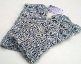 Wrist warmers, blue ladies gloves, crochet wristwarmers, cotton and linen hand warmers, winter woollies, gifts for her