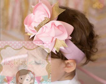 Pink And Gold OTT Glitter Shimmer Grosgrain Layered Hair Bow First Birthday 1