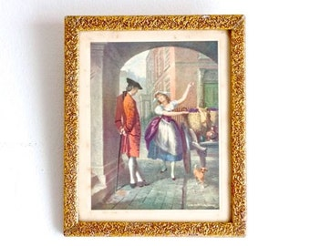 Girl selling Grapes to a Gentleman - Vintage Picture Frames - Vernon de Beauvoir Ward Print
