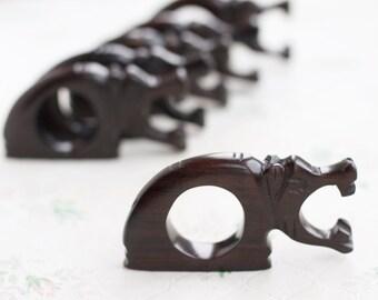 Hippopotamus Ebony Wood Napkin Rings - Set of 6 Hipos