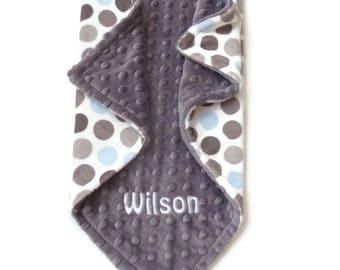Personalized Minky Baby Blanket - Polka Dot in Baby Blue, Gray and White - Double Minky Blanket - Polka Dot Minky Blanket - Baby Boy Blanket