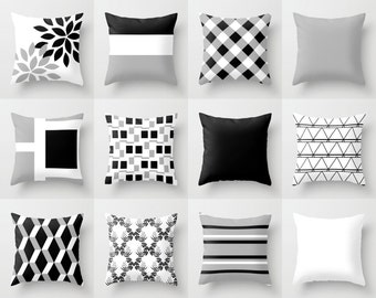Throw Pillow Cover Black White Grey Couch Cushion Cover Contemporary Home  Decor Living Room Pillow Decorative Part 14