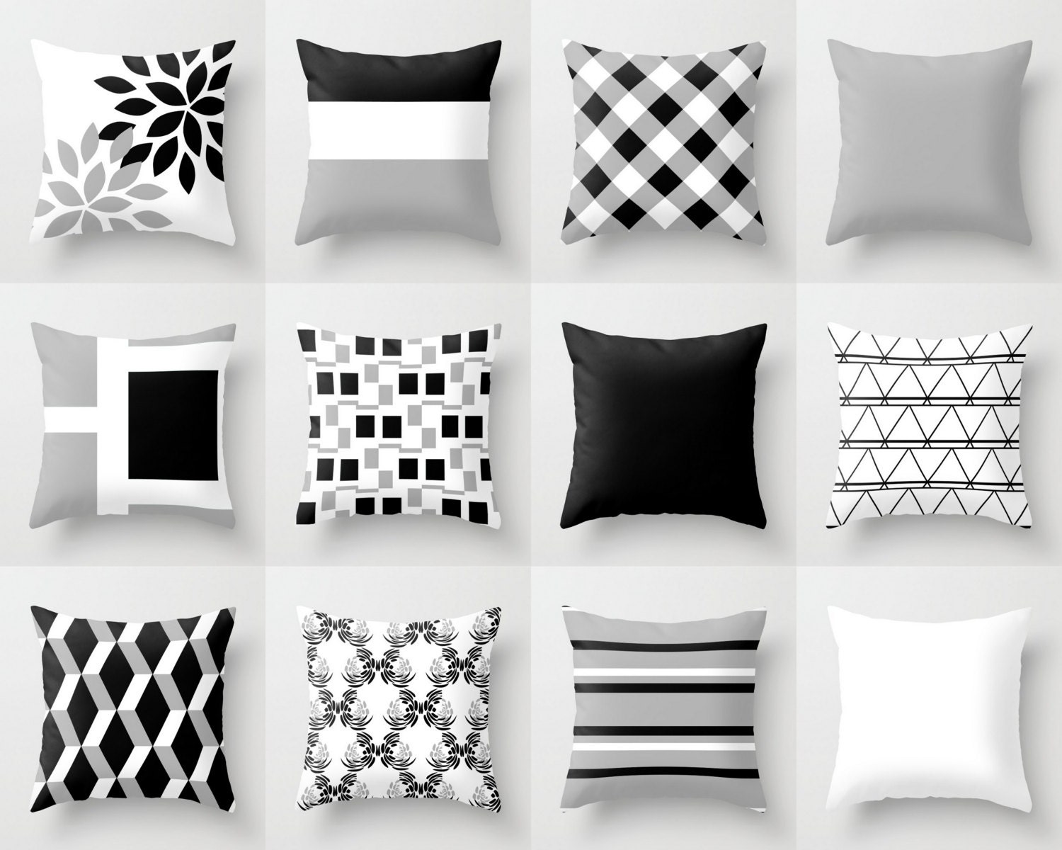 Throw Pillow Cover Black White Grey Couch Cushion Cover