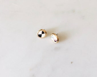 1980's Vintage Art Deco Opal and Gold Costume Circle Oval Stud Earrings