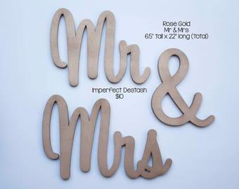 IMPERFECT DESTASH- mr & mrs wedding prop rose gold