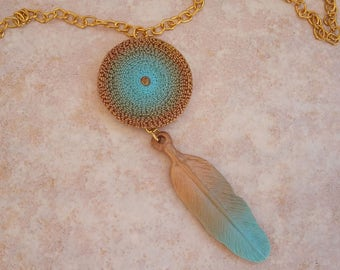 Polymer Clay Pendant, Feather Pendant, Long Penant