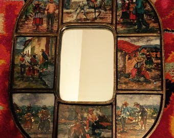 Antique Reverse Painted Glass Mirror, Peru