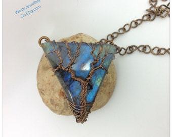 Labradorite Tree Of Life Pendant Labradorite Wire Wrapped Pendant Statement Piece  Handmade Labradorite Pendant Labradorite Necklace