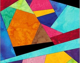 Complex Crazy Patch 19 Paper Foundation Piece Quilting Block Pattern PDF