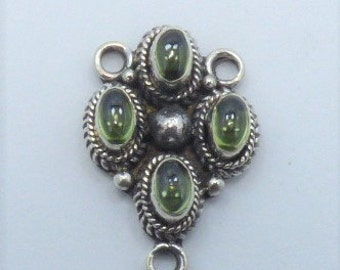 3 ways Connector Peridot 925 Silver Handmade