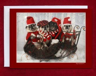 Funny Holiday Card - Pug Holiday Card - 5x7 - Sleigh Full of Pug Love