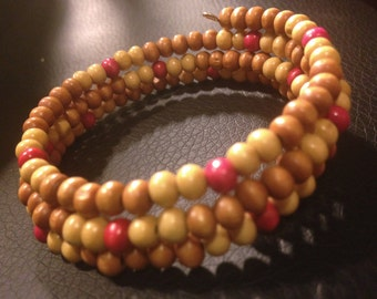 Multi-colored wood Memory Wire Bracelet