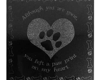 3D Laser Engraved Black Granite Pet Memorial Marker 12 x 12 inches Dog's Pawprint on Heart EP - 12X12 GRANITE - DOGPAW
