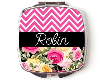 Floral Bridesmaids Gifts - Personalized Compact Mirror - Pink Black & Floral Wedding - Personalized Bridesmaids Gifts