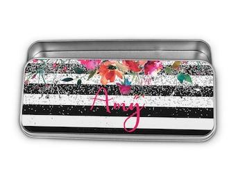 Watercolor Floral Pencil Tin - Personalized Silver Glitter Storage Tin