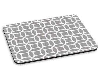 Retro Circles Grey Pattern PC Computer Mouse Mat Pad