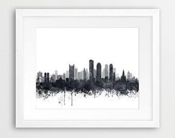 Beau Boston Print, Boston City Skyline, Boston Wall Art, Grey Black White  Watercolor Cityscape