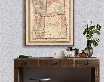 "1870 Johnson's Oregon and Washington reprint, Vintage map reprint - 4 large/XL sizes up to 48""x36""- in original, black, or blue"