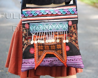 Mhong bag, bag Medium size, multi-colors, Decorated beads, embroidery purses.