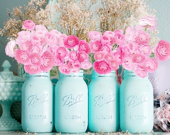 Distressed Mason Jars / Turquoise Weddings / Turquoise Bridal Shower  / Turquoise Baby Shower