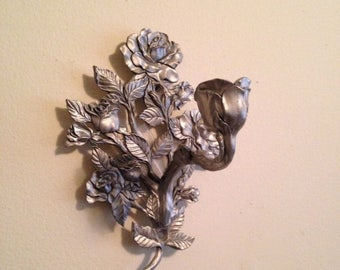 On Sale Pewter Rose Candle Wall Sconce Seagull Etain Zinn