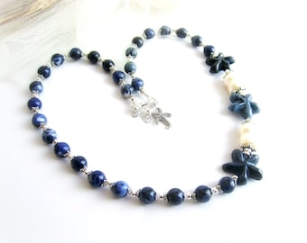 Starfish necklace, sodalite beaded necklace, freshwater pearl necklace, sodalite pearls necklace, nautical necklace, starfish stone necklace